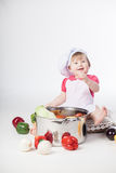 Chef girl preparing healthy food Royalty Free Stock Photo