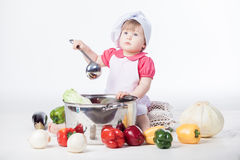 Chef girl preparing healthy food Stock Photography