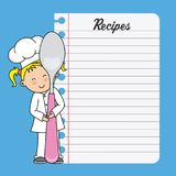 Chef girl with a spoon and blank sheet. To write recipes Stock Illustration