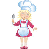 Chef girl . Vector illustration of a cute blond girl dressed in a chef's hat and apron, holding a spoon. The girl wears a pink dress with polka dots Stock Illustration