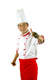 Chef gives thumbs up sign. Isolated on white background Stock Photos