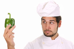 Chef and green pepper Stock Images