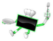 Chef Green TV Character Chef in both hands to hold a fork and pl Royalty Free Stock Photos