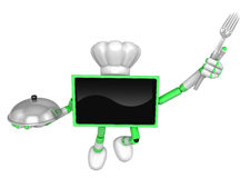 Chef Green TV Character Chef in both hands to hold a fork and po Royalty Free Stock Image