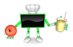 Chef Green TV Character right hand, apple in the left hand holdi Royalty Free Stock Photography