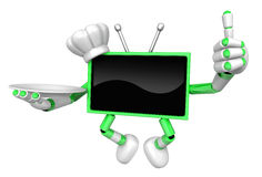 Chef Green TV Mascot the right hand best gesture and the right h Stock Photography