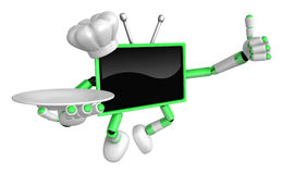 Chef Green TV Mascot the right hand best gesture and the right h Royalty Free Stock Photos