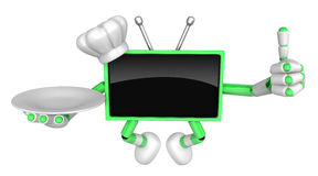 Chef Green TV Mascot the right hand best gesture and the right h Royalty Free Stock Image