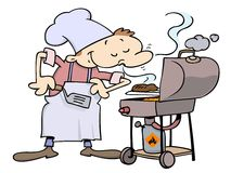 Chef grilling hamburgers stock illustration
