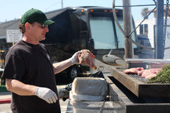 Chef grillt Rindfleischsteaks draußen Stockfotografie