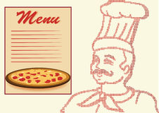 Chef in halftone with menu and pizza. Stock Photo