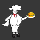 Chef with hamburger Royalty Free Stock Photography