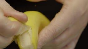 Chef Hands Dressed In Gloves Peel A Banana. Close-up - Chef Hands Dressed In Gloves Peel A Banana For Cooking Dessert. Restaurant Menu stock footage