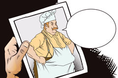 Chef with hands on hips. Hand with photo. Stock Photo