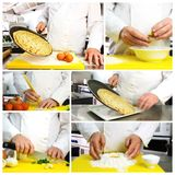 Chef hands photo collage Stock Photos