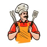 Chef or happy cook holding a grill tools tongs and spatula. Barbecue, kebab food. Cartoon vector illustration. Chef or happy cook holding a grill tools tongs and royalty free illustration
