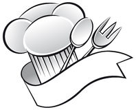 Chef hat. Icon in black and white Royalty Free Stock Images