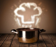 Chef hat above cooking pot Stock Image