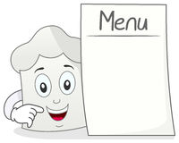 Chef Hat Character with Blank Menu Stock Photo