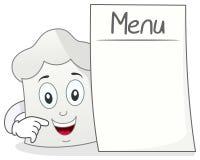 Chef Hat Character mit leerem Menü Stockfoto