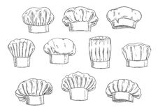 Chef hat, cook cap and toque sketches Stock Images