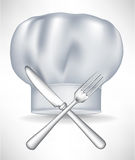 Chef hat with crossed knife and fork Royalty Free Stock Photo