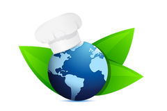Chef hat and eco globe. International cuisine Stock Photography