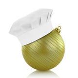 Chef hat on elegant Christmas ball Stock Photography