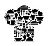 Chef hat from food icons. Vector illustration Stock Photos