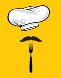 Chef hat with fork and mustache Stock Photo