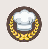 Chef hat and golden grains flat icon Stock Photos