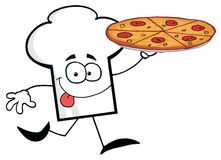 Chef hat guy carrying a pizza Stock Photography