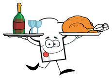 Chef hat guy serving wine and turkey Stock Photos