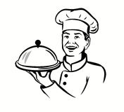 Chef with hat and hot plate Stock Image
