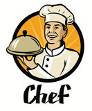 Chef with hat and hot plate Royalty Free Stock Photo