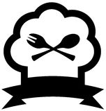Chef hat icon with spoon and fork Stock Photography