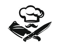 Chef hat with kitchen knife. Vector illustration Stock Photography
