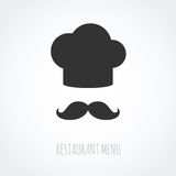 Chef hat and mustache abstract vector icon. Chef hat and mustache abstract icon. Vector illustration, could be used for the restaurant logo, business, etc Stock Image