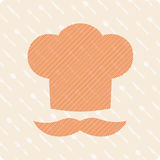 Chef hat with a mustache. Vector emblem hat chef on background of cutlery Stock Images