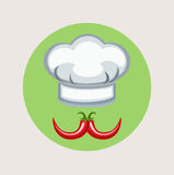 Chef hat with pepper mustache flat design vector Royalty Free Stock Images