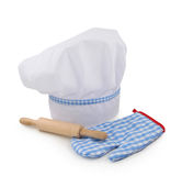 Chef hat,rolling pin and glove royalty free stock photography
