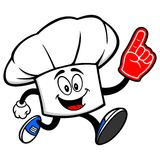 Chef Hat Running with a Foam Finger Royalty Free Stock Images