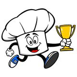 Chef Hat Running with a Trophy Stock Photos