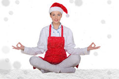 Chef in hat of Santa Claus with snow Stock Photos