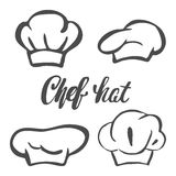 Chef hat silhouette isolated set. Black hat chef cook for logo. Chef hat silhouette isolated set. Black hat chef cook for logo Stock Photos