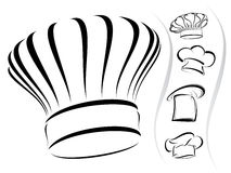 Chef hat silhouettes - vector icon set Royalty Free Stock Image