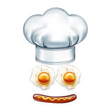 Chef hat and smiley face made of wurst and eggs.  Stock Photo