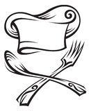 Chef hat with spoon and fork. Monochrome chef hat with spoon and fork Royalty Free Stock Image