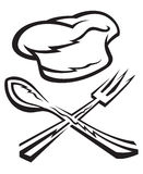 Chef hat with spoon and fork. Monochrome chef hat with spoon and fork Royalty Free Stock Photo