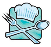 Chef hat with spoon and fork. Icon of chef hat with spoon and fork Stock Images